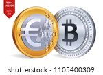 bitcoin. euro coin. 3d... | Shutterstock .eps vector #1105400309