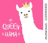 white llama with lettering.... | Shutterstock .eps vector #1105403303