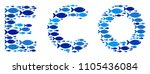 fish eco text collage in blue... | Shutterstock .eps vector #1105436084