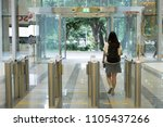 security at an entrance gate... | Shutterstock . vector #1105437266