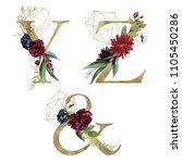 floral alphabet set   letters y ... | Shutterstock . vector #1105450286