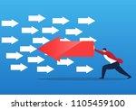 businessman pushing arrow in... | Shutterstock .eps vector #1105459100