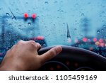 drive in rainy day. bad weather ... | Shutterstock . vector #1105459169