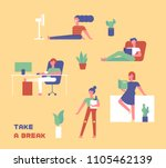 people who are taking a break... | Shutterstock .eps vector #1105462139