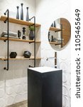 stylish wooden bathroom with... | Shutterstock . vector #1105465649