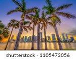 miami  florida  usa skyline on... | Shutterstock . vector #1105473056