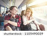 two girls travel with backpacks ... | Shutterstock . vector #1105490039