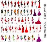large set of elegant shopping... | Shutterstock . vector #110549420