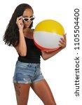 beautiful young black woman... | Shutterstock . vector #1105504400