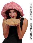 beautiful woman holding a... | Shutterstock . vector #1105505513
