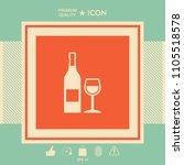 bottle of wine and wineglass... | Shutterstock .eps vector #1105518578