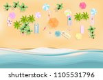 top view beach background with... | Shutterstock .eps vector #1105531796