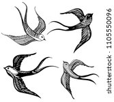set of swallows icon ... | Shutterstock .eps vector #1105550096