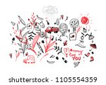 drawing of the child to the...   Shutterstock .eps vector #1105554359
