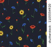 floral embroidery seamless... | Shutterstock . vector #1105554920