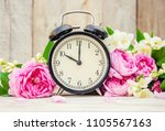 alarm clock 10 hours. flowers.... | Shutterstock . vector #1105567163