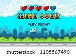 game over pixel art design with ... | Shutterstock .eps vector #1105567490