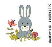 woodland animals with cartoon... | Shutterstock .eps vector #1105569740