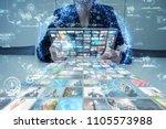social media concept. streaming ... | Shutterstock . vector #1105573988
