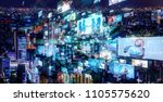 social network and city. | Shutterstock . vector #1105575620