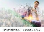 businessman running fast in a... | Shutterstock . vector #1105584719