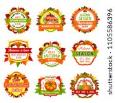 autumn nature season badge set. ... | Shutterstock .eps vector #1105586396