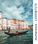 venetian gondolier punting... | Shutterstock . vector #1105587173