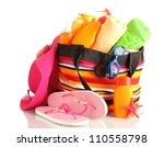 beach bag with beach... | Shutterstock . vector #110558798