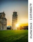 leaning tower of pisa in pisa ... | Shutterstock . vector #1105588079