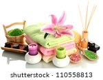 beautiful spa setting with lily ... | Shutterstock . vector #110558813