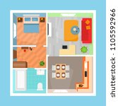 cartoon apartment floor plan... | Shutterstock .eps vector #1105592966