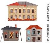 cartoon old houses set broken... | Shutterstock .eps vector #1105592999