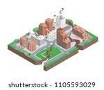city hit earthquake concept 3d... | Shutterstock .eps vector #1105593029