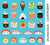 kawaii food vector emoticon... | Shutterstock .eps vector #1105593899