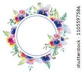 wreath with petunias  pansies... | Shutterstock . vector #1105597586