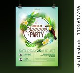 vector summer beach party flyer ... | Shutterstock .eps vector #1105617746