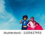 two cute and strong super heroes | Shutterstock . vector #1105617953