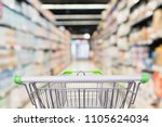 Small photo of Abstract blur supermarket aisle defocused background with empty green shopping cart