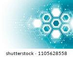 abstract hexagonal molecular...   Shutterstock .eps vector #1105628558