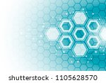 abstract hexagonal molecular... | Shutterstock .eps vector #1105628570