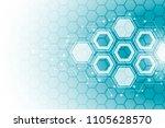 abstract hexagonal molecular...   Shutterstock .eps vector #1105628570