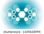abstract hexagonal molecular...   Shutterstock .eps vector #1105628594