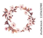 floral wreath with watercolor...   Shutterstock . vector #1105632980