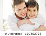 Mother and son with love - stock photo