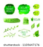vector vegan menu packaging... | Shutterstock .eps vector #1105647176