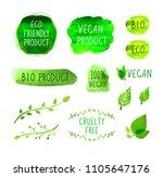 vector vegan menu packaging... | Shutterstock .eps vector #1105647176