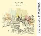 granada  andalusia  spain.... | Shutterstock .eps vector #1105649903