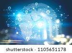 people network hologram against ... | Shutterstock . vector #1105651178