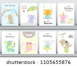 set of baby shower and happy... | Shutterstock .eps vector #1105655876