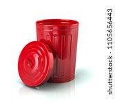 open red trash can 3d... | Shutterstock . vector #1105656443
